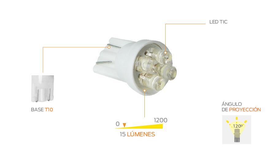 Focos led de pellizco t10 4 tic blanco dh masrefacciones - Foco halogeno led ...